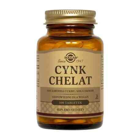 SOLGAR Cynk chelat aminokwasowy tabl. 100t