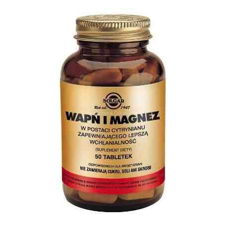 SOLGAR Wapń i Magnez w post.cytrynianu 50t