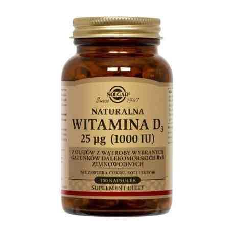SOLGAR Witamina D3 naturalna 25 mcg (1000IU)